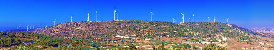 Panorama of Wind turbines generating electricity Royalty Free Stock Images