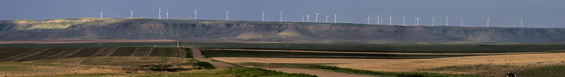 A Panorama Of Wind Turbines Royalty Free Stock Photos