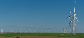 Panorama of wind turbines in wheat fields of eastern Washington royalty free stock photo