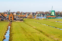 Panorama with windmill in Zaanse Schans, traditional village, Netherlands, North Holland Royalty Free Stock Image
