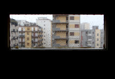 Panorama from the window while is raining, sad mood royalty free stock image