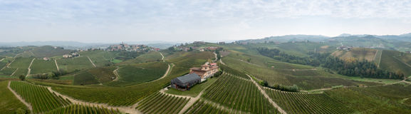 Panorama of winery in Italy. This is a panorama shot of the wine field of Baroli / Barolo in Pieamont Italy. Shot was made in autumn with a drone Stock Photos