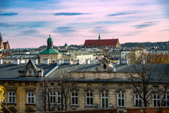 Panorama wines to Krakow with old castle royalty free stock photo