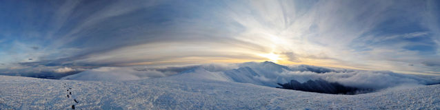 Panorama of winter Borzhava ridge Royalty Free Stock Photo