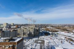 Panorama of the winter city stock images