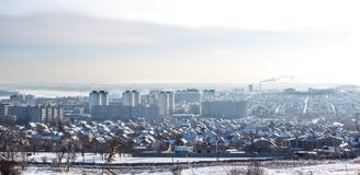 Panorama winter city in the snow royalty free stock photos