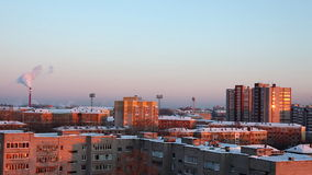 Panorama at winter city and termal power station. With smoke stock video