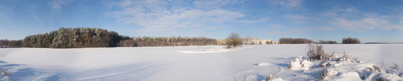 Panorama of winter field. Belarus royalty free stock images