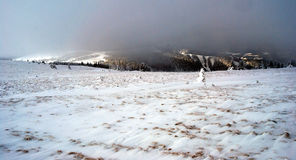 Panorama of winter Fischbacher Alpen with clouds Royalty Free Stock Photo