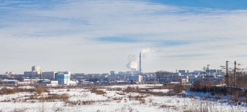 Panorama winter industrial city Royalty Free Stock Photo