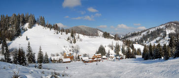 Panorama of winter landscape of Carpathians Royalty Free Stock Images
