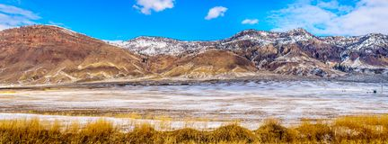 Panorama of Winter Landscape in the semi desert of the Thompson River Valley between Kamloops and Cache Creek in British Columbia. Panorama of a Winter Landscape Stock Photo