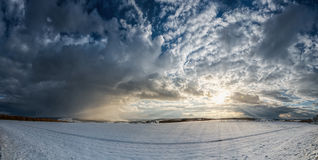 Panorama winter landscape sunbeams Royalty Free Stock Photo