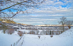 Panorama of the winter landscape in the swiss mountains Stock Photo