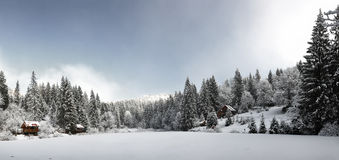 Panorama of a winter morning in the Carpathians Stock Image