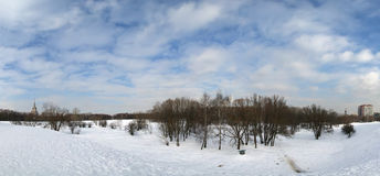 Panorama of winter in Moscow. Moscow State University Main building Royalty Free Stock Photography