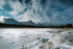Panorama winter mountain landscape in Canadian Rockies. Winter mountain landscape in Canadian Rockies stock photos