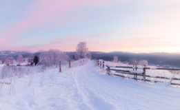 Panorama of winter mountain snowy hills. At early morning Stock Image