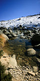 Panorama of a winter mountain stream with snow Royalty Free Stock Images