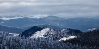 Panorama of winter mountain valley Stock Photos