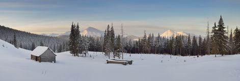 Panorama of winter mountain valley royalty free stock images