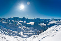 Panorama of winter mountains Stock Photo