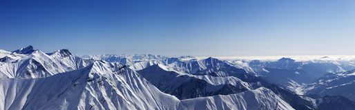 Panorama of winter mountains Royalty Free Stock Photos