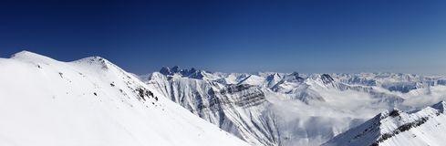 Panorama of winter mountains Stock Photography