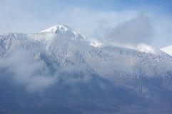 Panorama of winter mountains, Bulgaria. Panorama of winter mountains. Alpine ski resort Bansko, Bulgaria Royalty Free Stock Image