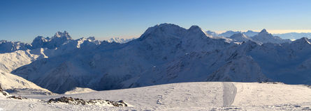 Panorama of winter mountains in Caucasus Royalty Free Stock Images