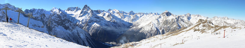Panorama of winter mountains Royalty Free Stock Photo