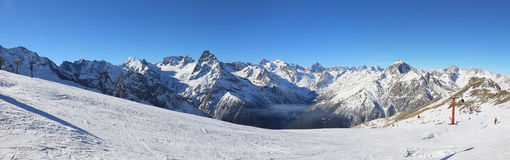 Panorama of winter mountains Royalty Free Stock Image