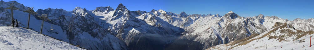 Panorama of winter mountains Stock Photo