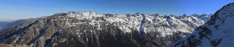 Panorama of winter mountains Stock Photos