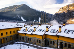 Panorama of winter mountains with houses Stock Images