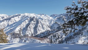 Panorama Winter Mountains Time Lapse stock video footage