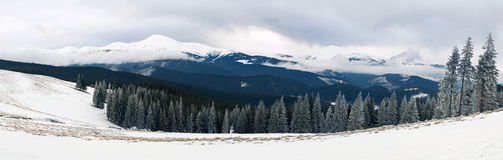 Panorama of winter mountains Stock Images