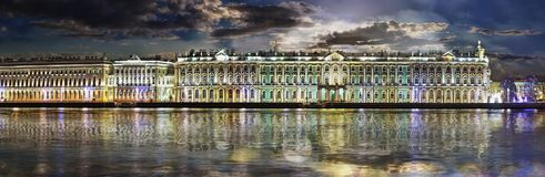 Panorama of the Winter Palace and the Hermitage Museum in St. Pe. Night panorama of the Palace embankment, the Winter Palace and the Hermitage in the background Stock Image
