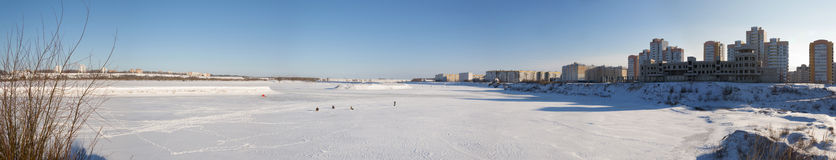 Panorama of winter river Belarus. Panorama of winter river, frosty morning royalty free stock photography