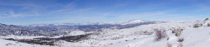 Panorama, Winter snow on mountains Royalty Free Stock Photo