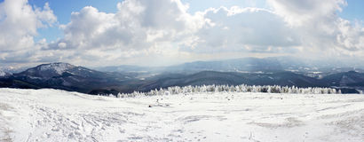 Panorama of winter and snowy lanscape Stock Photo