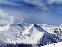 Panorama of winter snowy mountains Stock Images