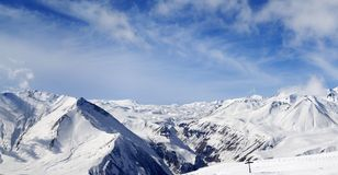 Panorama of winter snowy mountains at nice day Royalty Free Stock Photography
