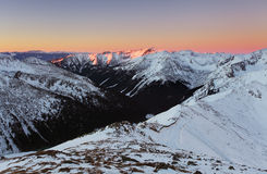 Panorama of  winter Tatra Mountains at sunrise Stock Photography