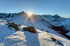 Panorama of  winter Tatra Mountains at sunrise Stock Photos