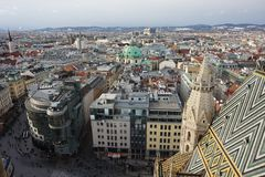 Panorama of winter Vienna from the tower of St. Stephen's Cathedral. Austria. stock photos