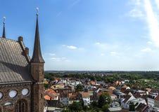 Panorama Wismar de plate-forme de vue de Saint-Nicolas Image libre de droits