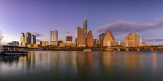 Free Panorama With Downtown View Across Lady Bird Lake Or Town Lake On Colorado River At Sunset Golden Hour, Austin Texas USA Stock Photo - 179937280