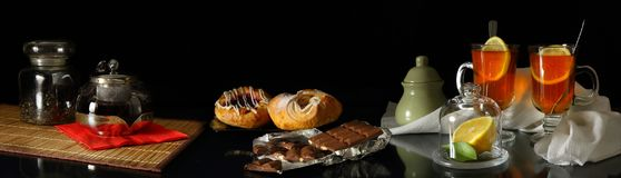 Panorama With Tea, Pastries And Chocolate Stock Photography