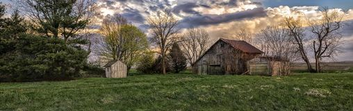 Panorama of withering barn Royalty Free Stock Photos